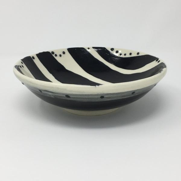 Black and White Bowl with Big Stripes and Dots