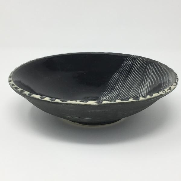 Black and White Bowl Brushed and Glazed picture