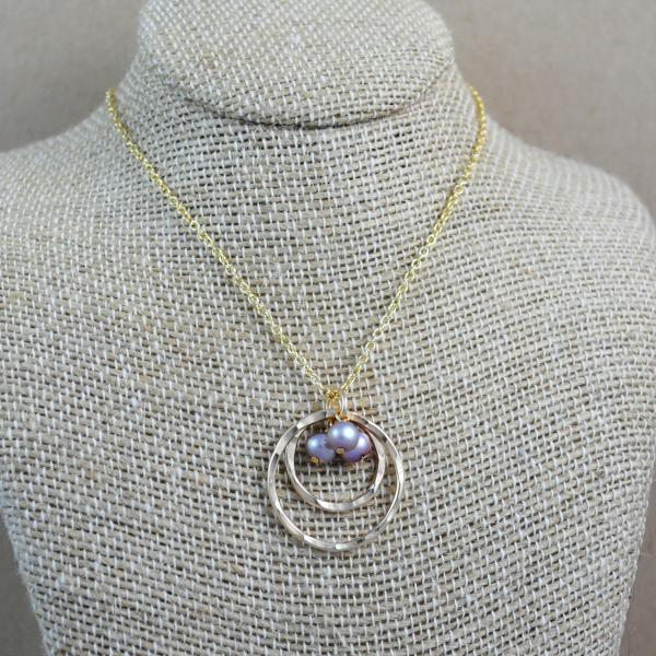 Double Ring and Pearl Pendant - gold-filled