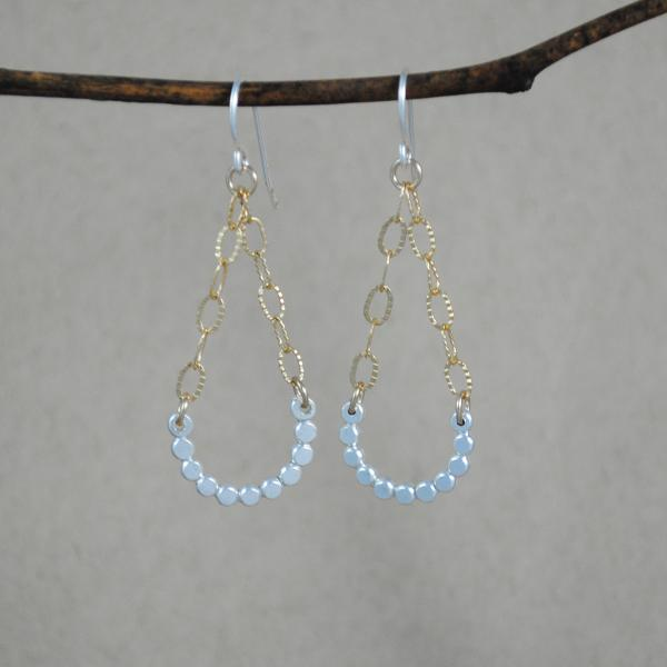 Beaded Swing Earrings - mixed metals