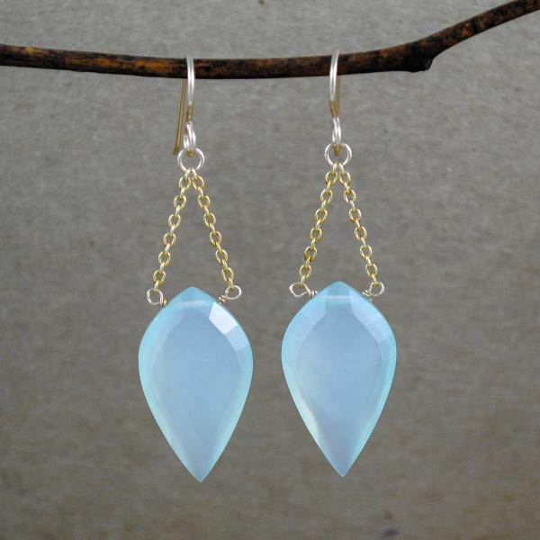 Chalcedony Chain Drop Earrings