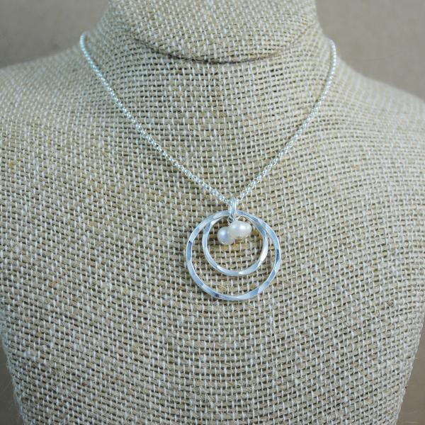 Double Ring and Pearl Pendant - Sterling Silver