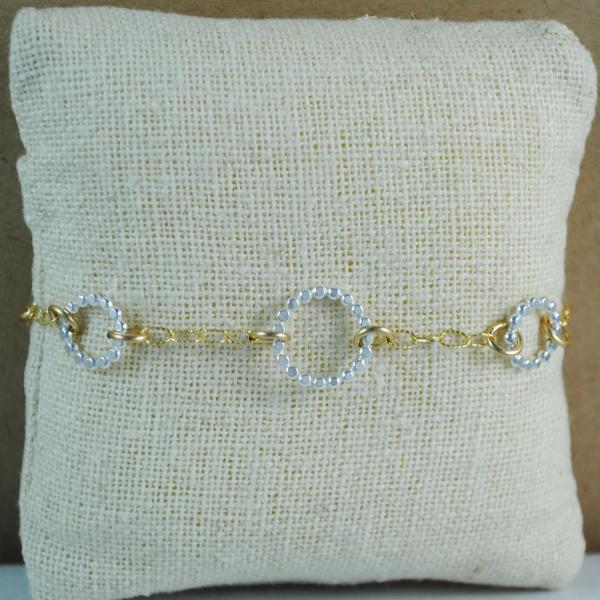Beaded Floating Bracelet - mixed metals