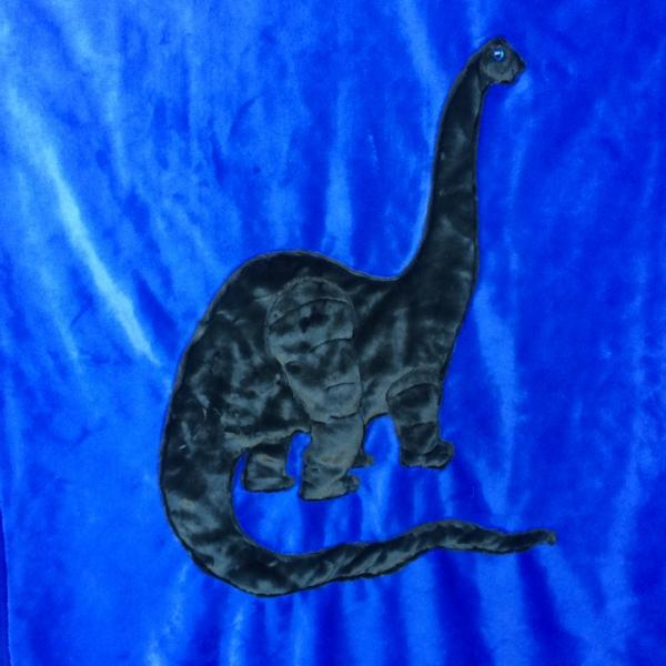 Brontosaurus Green on Blue Applique Blanket