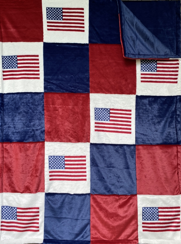 "Flag 15"" Block Patchwork Blanet"