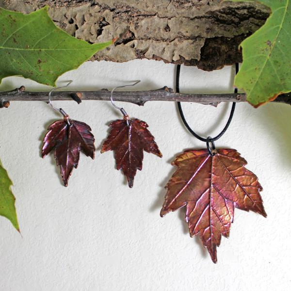 Maple Pendant and Maple Leaf Earrings