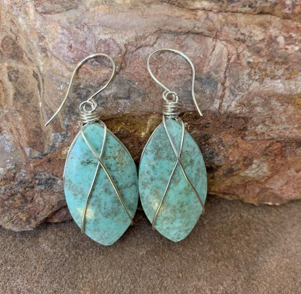 Blue amazonite silver crisscrossed earrings