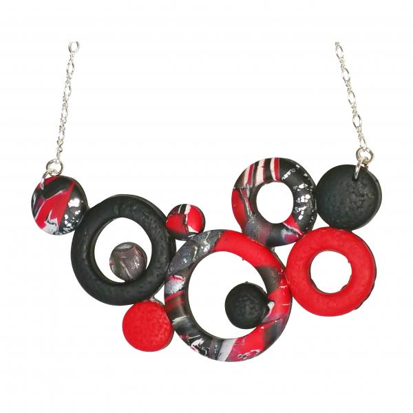Large Bunches of O's Necklace - Red Black & White
