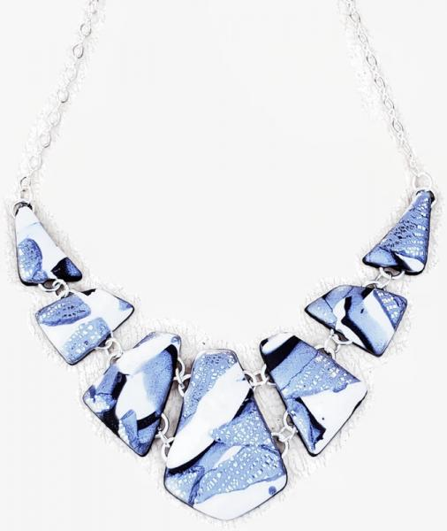 Marbled 7 Piece Linked Shard Necklace - Black White Silver