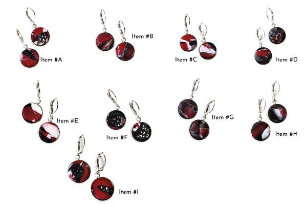 14mm Round Bezel Dangle Earring - Red Black White