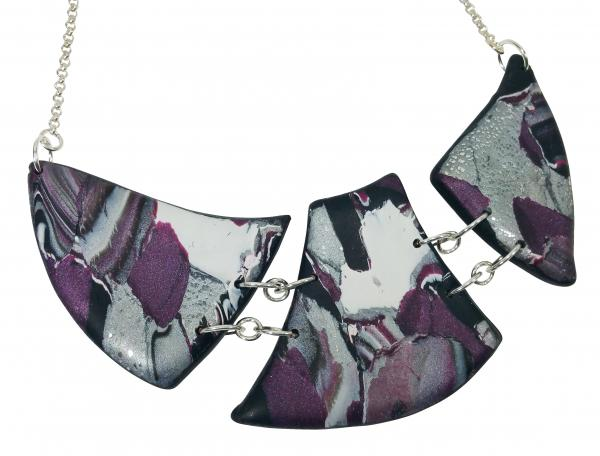 Marbled and Mosaic 3 Piece w/Link Necklace - Burgundy