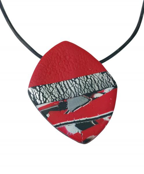 Large Angled Square Pendant - Marbled - Red Black Silver