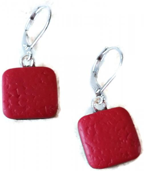 14x14mm Red Square Dangle Earring