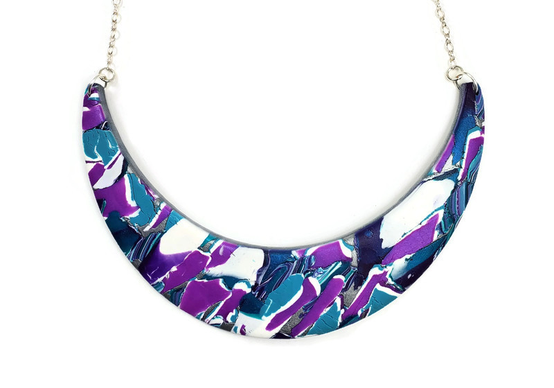 Abstract Marbled Half Moon Collar - Purple