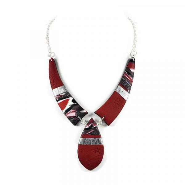 Mosaic 3 Piece Drop Necklace - Red