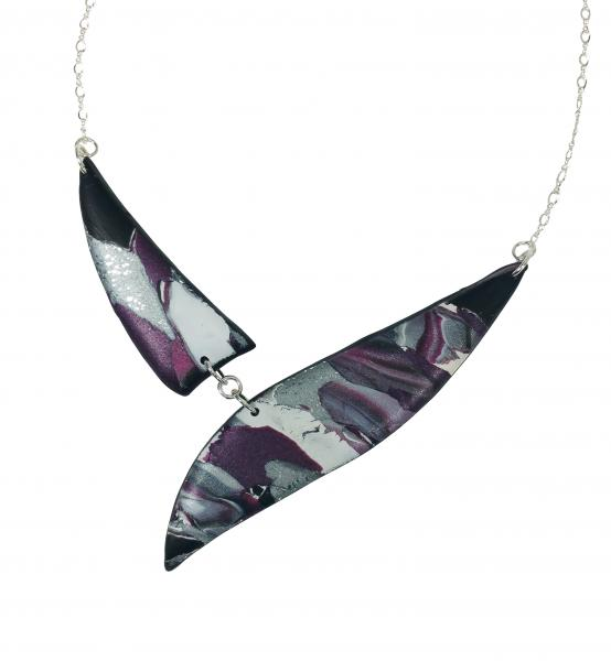 Marbled 2 Piece Shard Necklace - Burgundy Black Silver