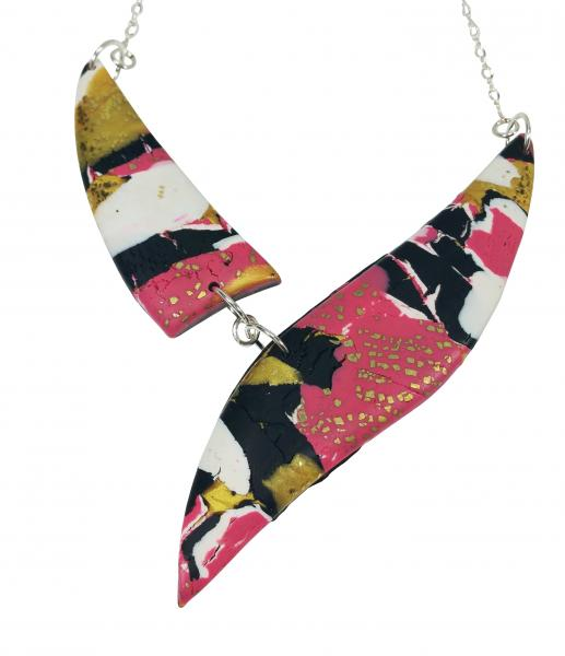 Marbled 2 Piece Shard Necklace - Pink Black Gold