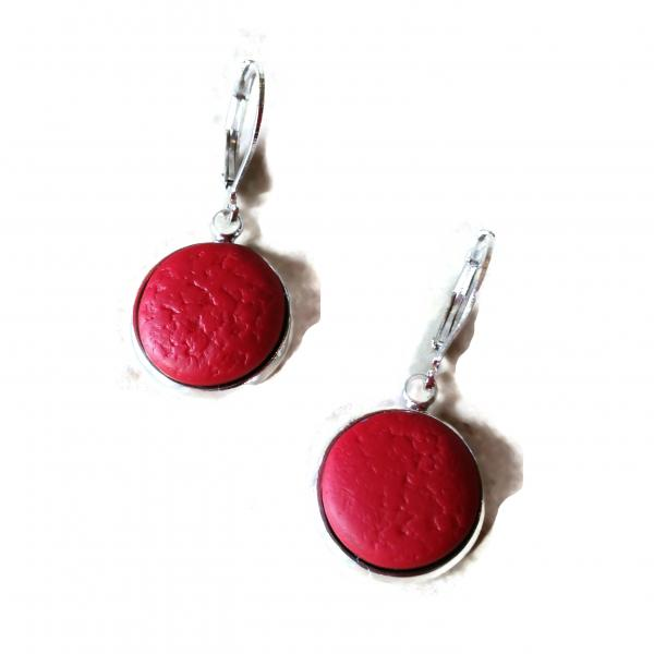 14mm Red Round Bezel Dangle Earring