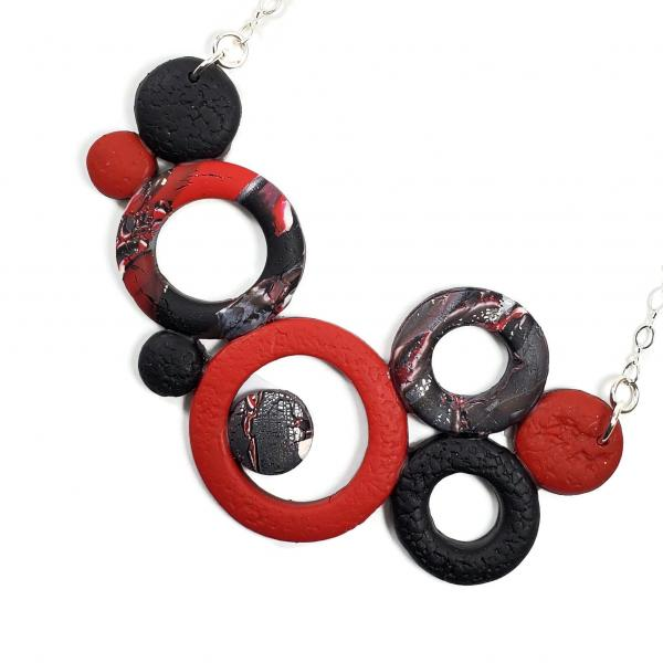 Large Bunches of O's Necklace - Black White & Silver