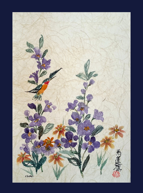 Hummingbird with Purple & Yellow Flowers