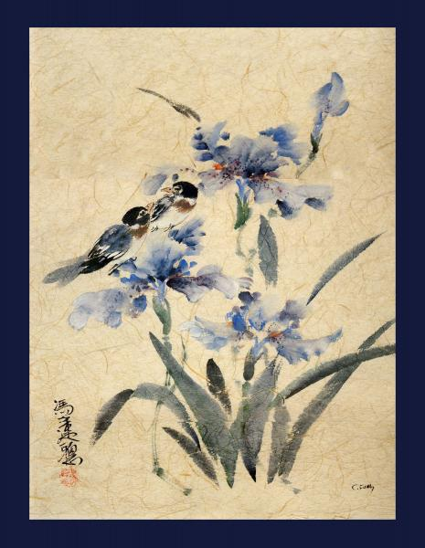 Blue Irises and Lovebirds