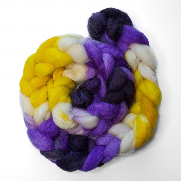 Non-Binary Pride - Unspun Roving - 4 oz, 70% Bluefaced Leicester 30% Nylon