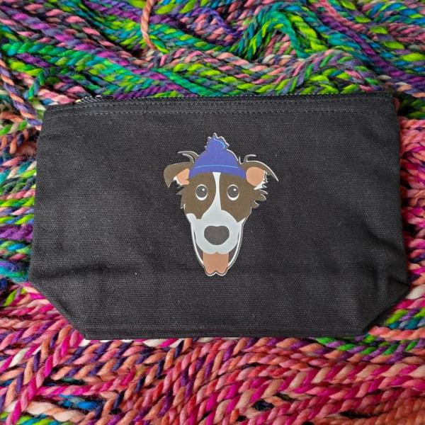 Notions Bag - Small, Dog on Black Bag