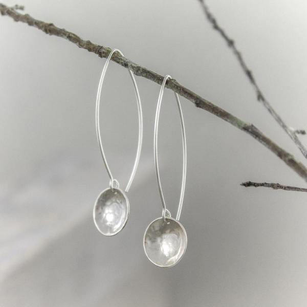Hammered Concave Sterling Earrings