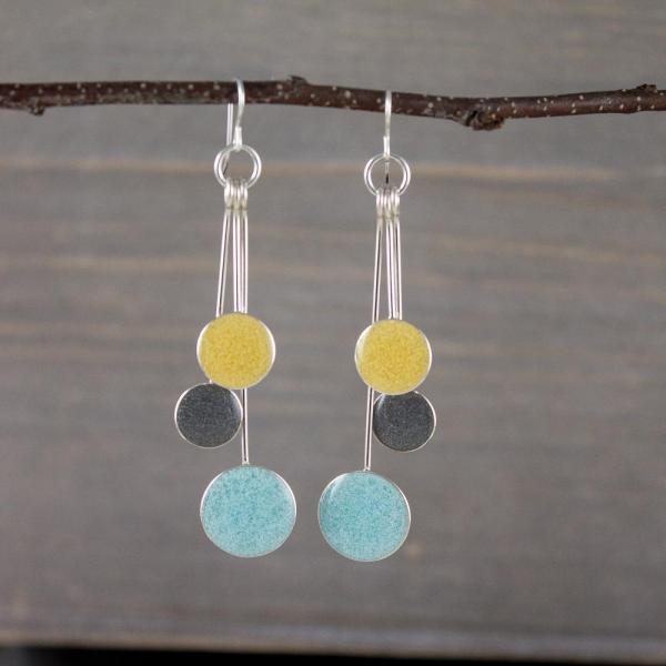 Powder, Pewter, and Butter Resin Earrings