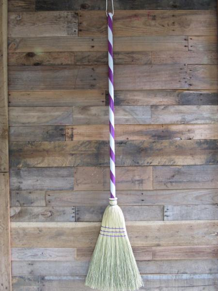 Purple and White Handled Broom