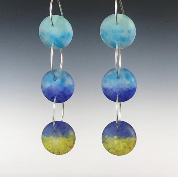 Three Drop Art Glass Earrings