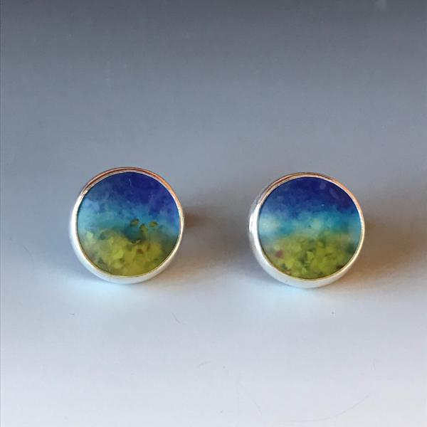Bezel Set Art Glass Earrings