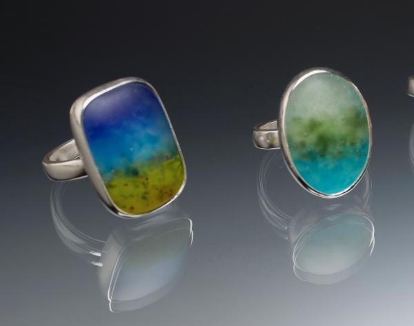 Art Glass and Sterling Silver Rings