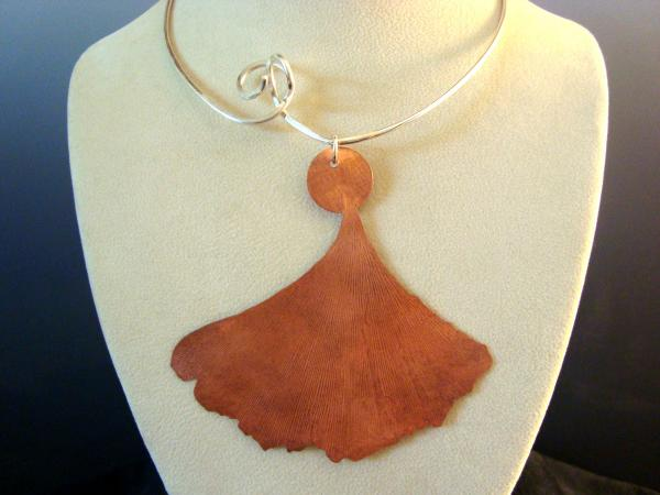 Sterling Silver Wire Collar with Copper Ginko Leaf Pendant