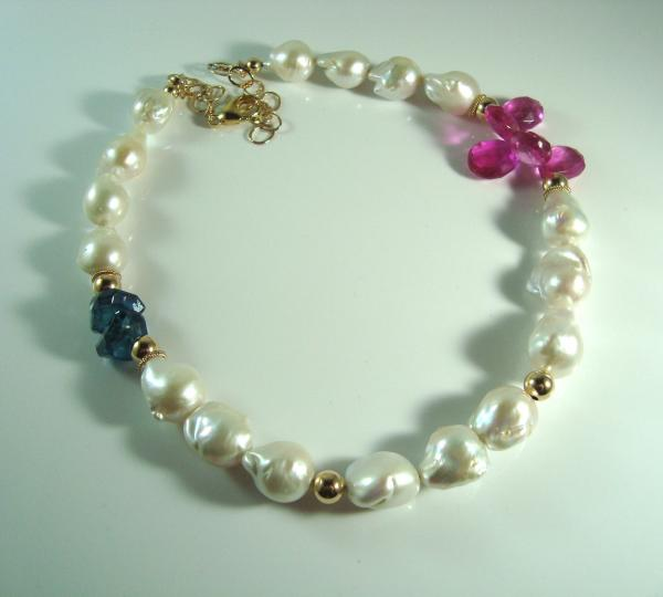 Freshwater Pearl, London Blue Topaz, Gold and Fuschia Quartz Necklace