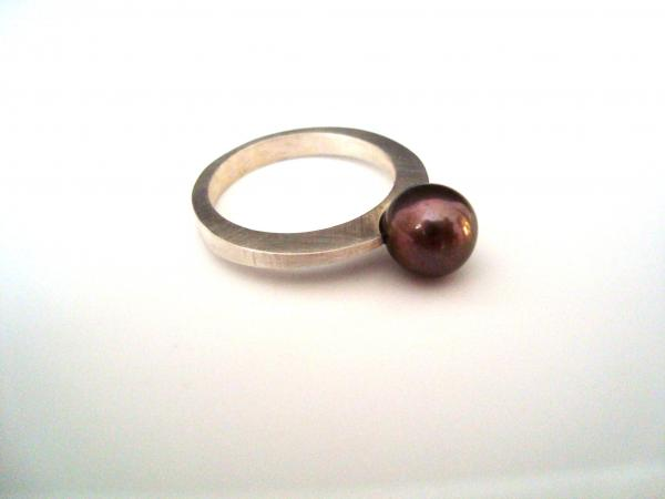 Forged Sterling Silver Ring with Black Tahitian Pearl picture