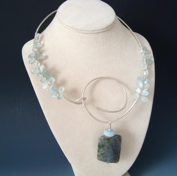Sterling Silver Wire Collar with Wire Wrapped Aquamarines and Labradorite Pendant picture