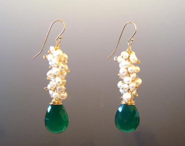 Green Onyx, Gold and Freshwater Pearl, Long, Dangle Earrings