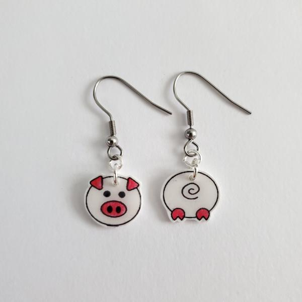 Pig front/back earring