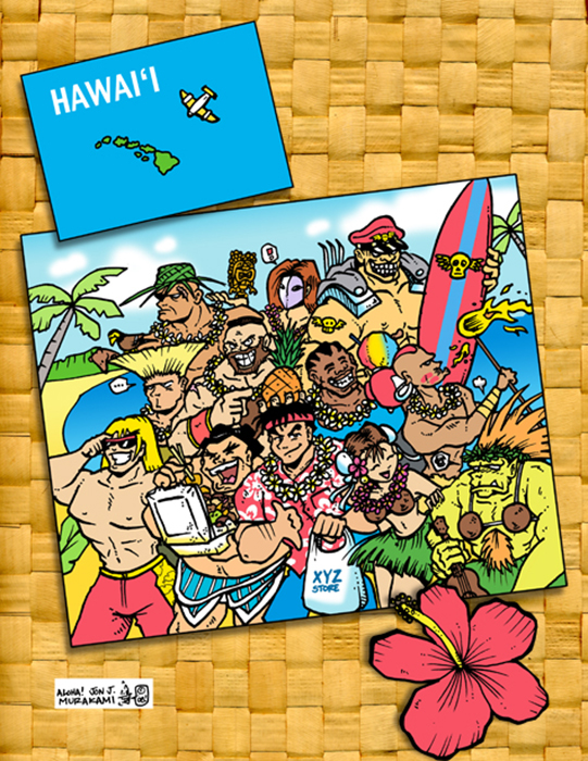 Prints: Street Fighter Postcard in Hawaii print