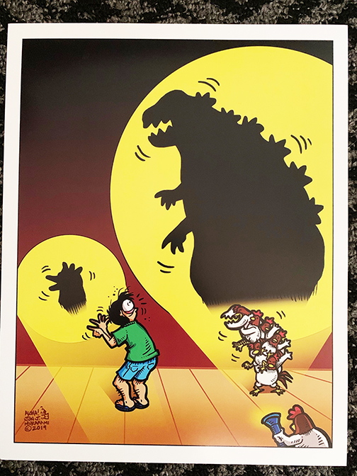 Prints: Godzilla Chicken Shadow print