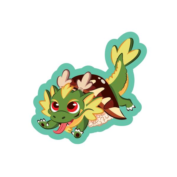 Baby Dragon Roll Sticker