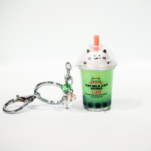 GREEN Cat Boba Bubble Tea Keychain filled with REAL LIQUID