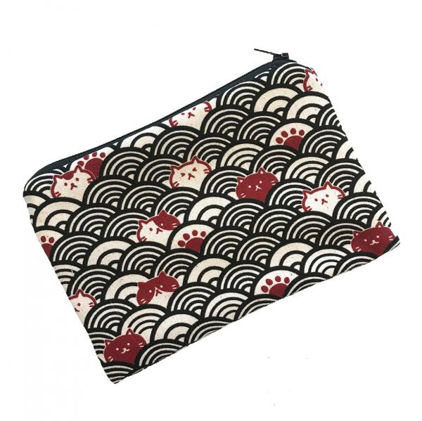 Cats on Black, cream, and red Japanese Seigaiha Traditional Print Zippered Pouch Bag