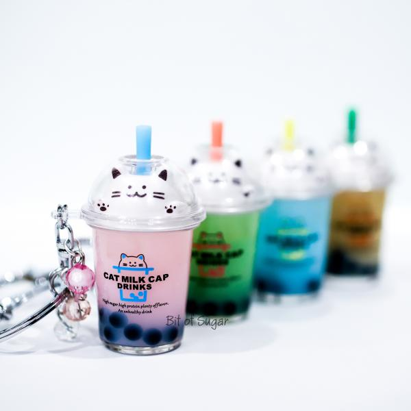 PINK Cat Boba Bubble Tea Keychain filled with REAL LIQUID