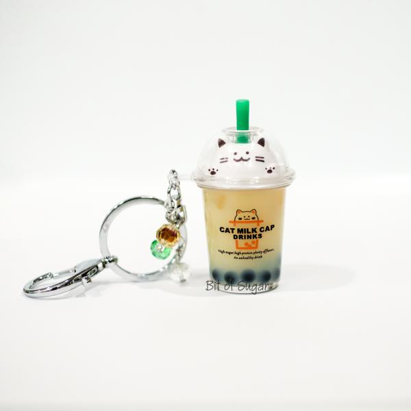 BROWN Cat Boba Bubble Tea Keychain filled w/ REAL LIQUID