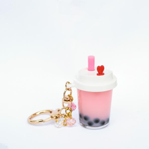 PINK Boba Keychain filled with REAL LIQUID