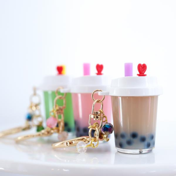 BROWN Boba Bubble Tea Keychain with White Lid Filled with REAL LIQUID