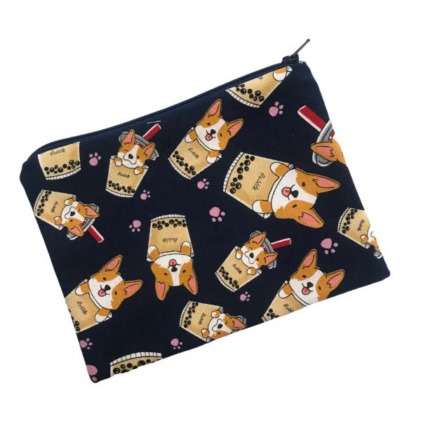 Corgi Boba Bubble Tea Zippered Pouch Bag in Navy