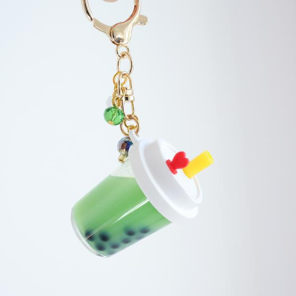 GREEN Boba Keychain with White Lid Filled with REAL LIQUID